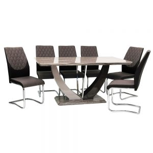 Atlantis Dining Table + 6 Atlantis Chairs (Marble Effect)