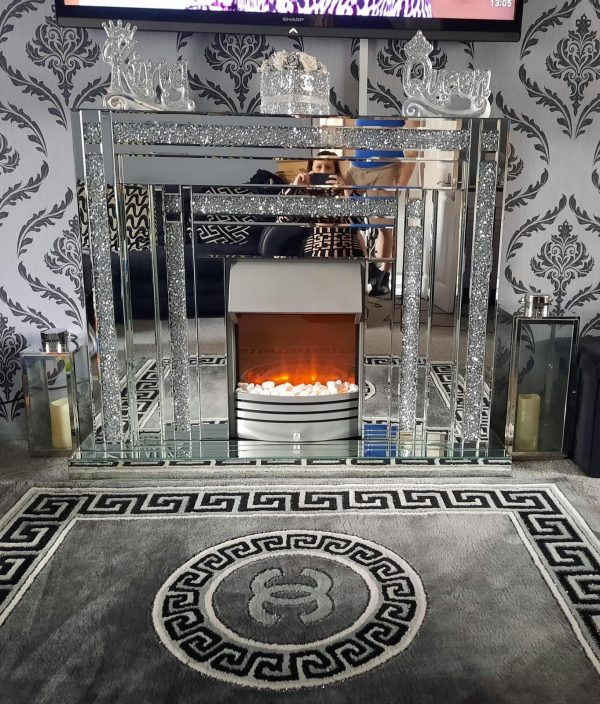 Crushed Diamond Mirrored Fire Place