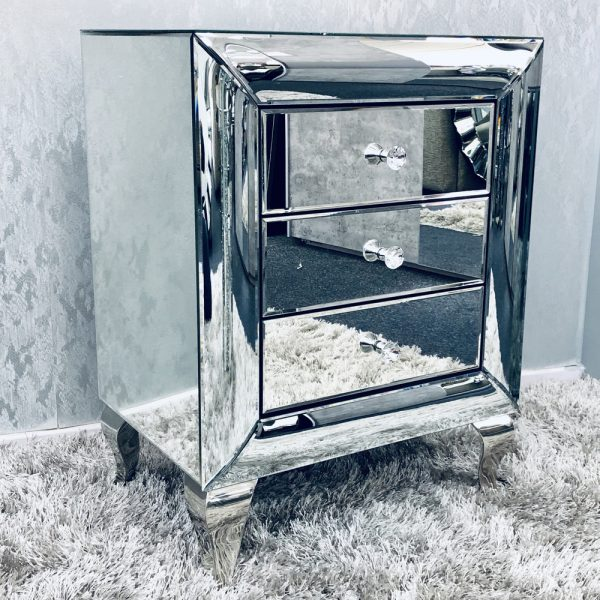 Curved Mirrored 3 Drawer Bedside Cabinet