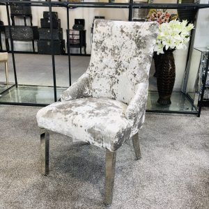 Venice Premium Crushed Velvet Silver Dining Chair