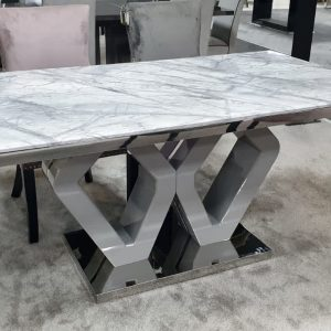 Majestic Grey Marble Dining Table