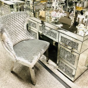 Valentino HQ Bruhsed Silver Dining Chair