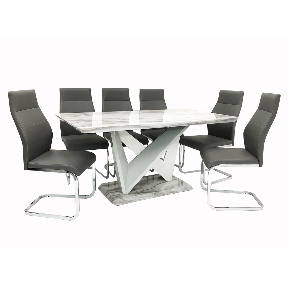 Georgia Dining Table + 6 Berlin Chairs (Marble Effect)