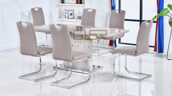 Milan Cappuccino Extending Dining Table + 6 Milan Chairs