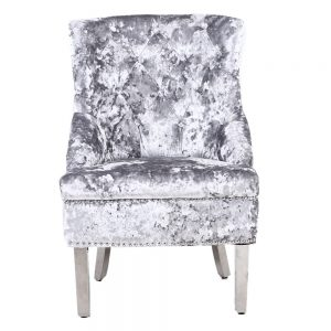 Majestic Silver Crushed Velvet Wing Chair