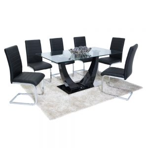 Oslo Dining Set (6 Black New York Chairs)