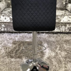 Elegant Black Fabric Bar Stool