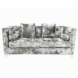 Denver Crushed Velvet Silver 3 Seater