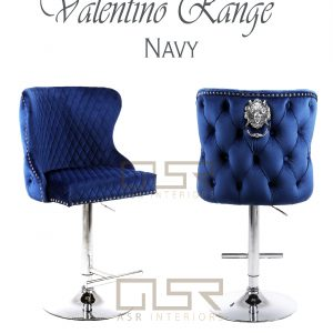 Valentino Navy Velvet Bar Stool