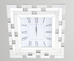 White Glass Mirror Clock